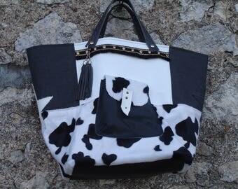 Bag Black and white faux cow fur, linen, faux leather