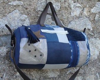 -patchwork - linen - suede - cotton - beige - blue - leather duffel bag