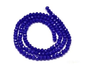 Thread 145 Royal Blue opaque glass faceted beads, 4x3mm rondelle donuts - IK27