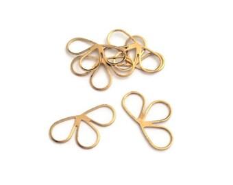 prints 10 demi-fleur 20x8mm, sequin gold raw brass connectors