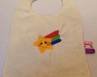 Beige bib with embroidered star and Rainbow