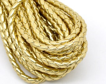 Cord braided gold faux leather - 1 meter.