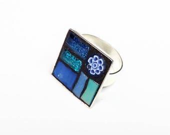 Silver metal square mosaic blue ring