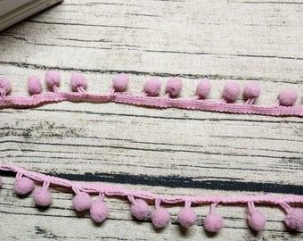 2 x m ribbons/trims 11 clear pink tassels