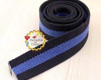 1 meter of strap lace 3.8 cm bag dark blue cotton