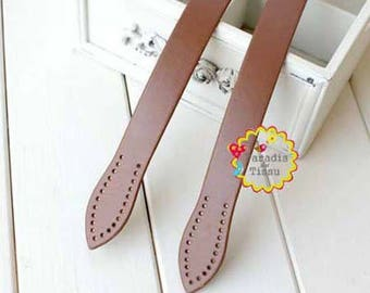 1 pair of clip strap for bag handles PU shape caramel faux leather leaf sewing