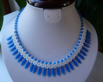 WOVEN WITH DAGGERS AQUAMARINE BIB NECKLACE
