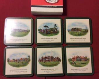 Vintage Coasters by Pimpernel of British Golf Clubs - Set of Six