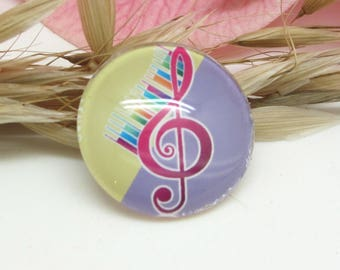 25 mm glass cabochon 1 Notes music treble clef 5-25 mm