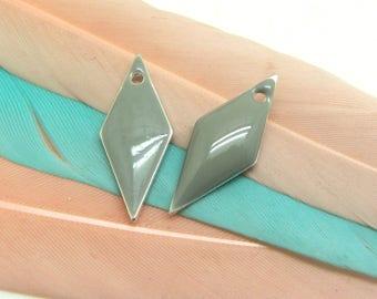 Set of 2 sequin gray enamel Triangles - 18 * 8 mm