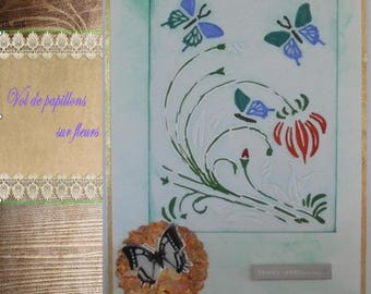 """Greeting card - """"Butterfly and flowers"""" in green and white"""