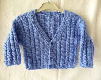 Handmade Blue Boy 2/3 cable knit Cardigan