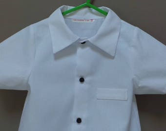 shirt in white cotton pique 3 years