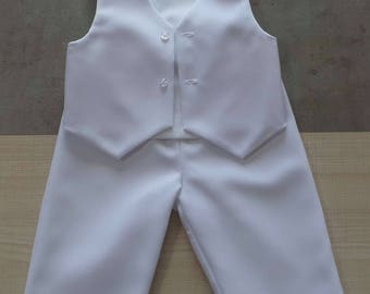 set of 12 month white pants and vest
