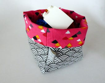 Basket in laminated cotton fabric and coordinating patterns