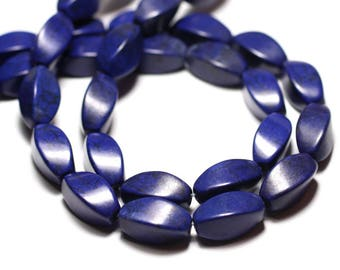 Beads of stone Turquoise synthetic olive cable twist 18mm blue wire 21pc approx 39cm - night