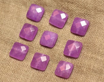 2PC - beads - Jade 14mm Violet Rose faceted squares - 4558550019554