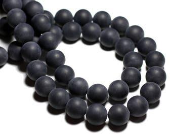 10pc - stone beads - sand matte black Onyx balls 10mm 4558550028396