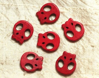 5pc - skull red 20mm 4558550034465 skull beads