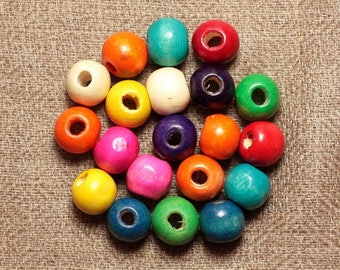 20pc - wood 8mm multicolored 4558550001238 balls beads