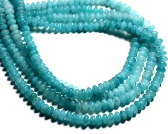 30pc - beads - Jade Rondelles 5x3mm matte Turquoise Blue - 4558550085627