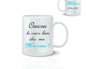 Personalized godmother mug - ceramic mug 325 ml