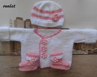 newborn girl knitted hat & bootie