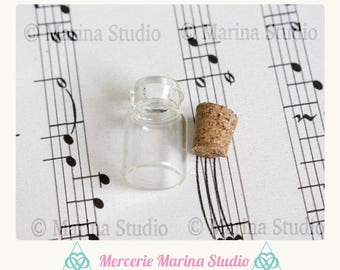 5 glass jars for miniature, with Cork