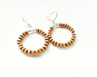 Wood beads hoop earrings silver-
