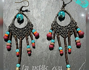 Earrings openwork and assorted beads