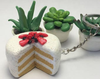 Cake with cream polymer clay keychain