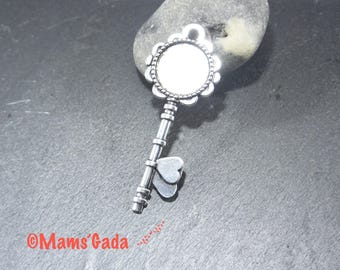 Support cabochon pendant key fob, key 72 mm silvered Metal ring 20mm REF:2 / 240