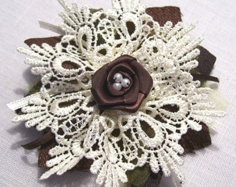 BROOCH or hair clip - fabric and lace flower satin and Pearl - tone Brown/ecru Center