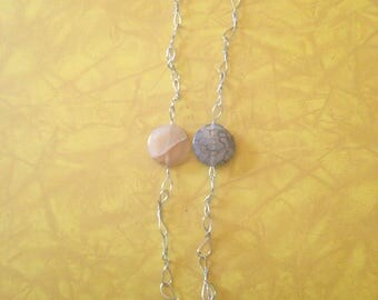 Agate moss agate pentacle necklace