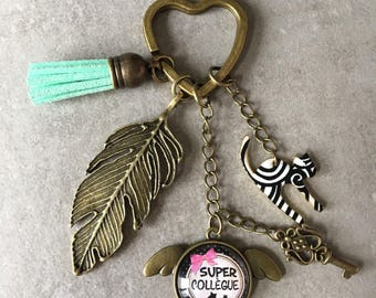 Co-worker - Key ring bronze cabochon glass 20mm