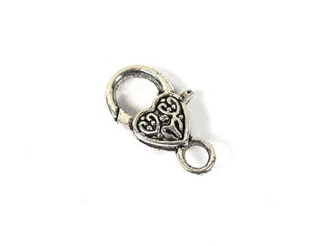 Large antique silver tone lobster clasp