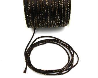 Meter MARRONavec stitching Gold 2 X 1 mm polyester cord