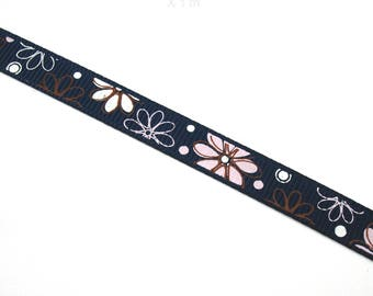 1 meter of cotton Ribbon floral 10 mm