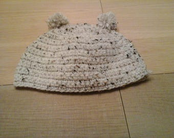 SIZE 6-10 MONTHS HAT CROCHETED WITH TASSELS