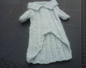 SMALL DOG COAT WITH PEARLY BEADS HAND KNITTED