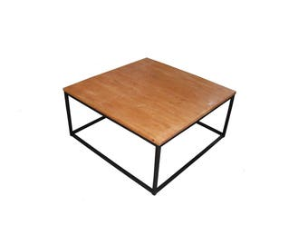 Table low industrial steel and wood Design Line