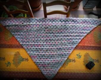 shawl crocheted angora and acrylic color pretty multicolor dot fantasy