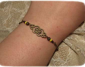 "Bracelet ""Antique Lov"". ~ * yellow, saffron, bronze, original, fine, women gift, heart"