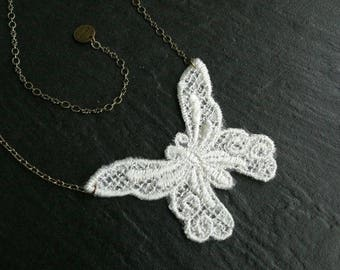 Necklace lace White Butterfly GM