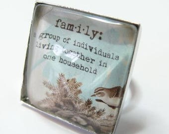 Large family 25mm silver square ring