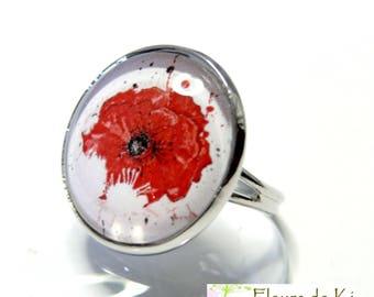 Designer jewelry: large poppy platinum silver ring