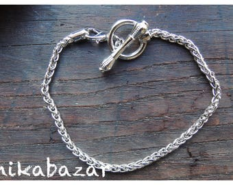 Support bracelet 21 cm for beads 'charm', toggle clasp