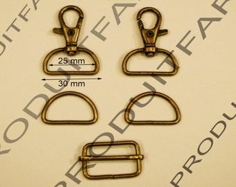 Set of 3 required straps Bronze Ring carabiner passing tote for 30 MM