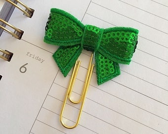 Sequin Bow Planner Clip
