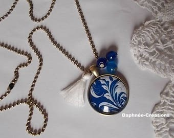 ❤CIRCE❤ CABOCHON PENDANT NECKLACE NAVY BLUE AND WHITE
